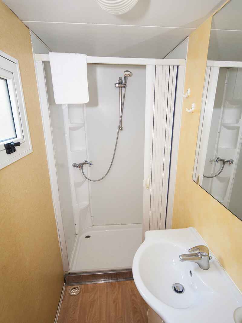 Shower in Classic mobile home