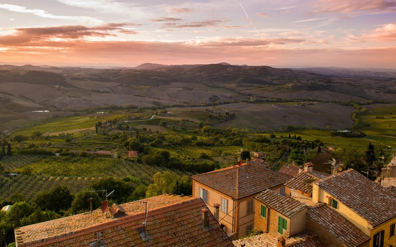 Sunset over Tuscany countryside
